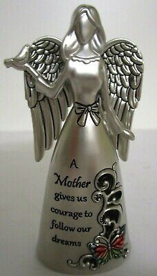 """""""Mother Gives Us Courage To Follow Our Dreams"""" Silver Angel Figurine Gift Boxed"""