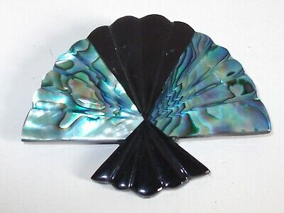 Gorgeous Vintage Abalone Shell & Black Celluloid Fan Design Brooch