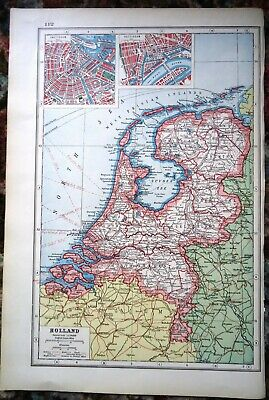 Antique Map ~ HOLLAND The Netherlands EUROPE ~ Harmsworth 1920