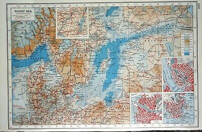 Antique Map ~ THE BALTIC SEA in EUROPE ~ Harmsworth 1920
