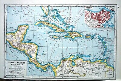 Antique Map ~ CENTRAL AMERICA & WEST INDIES ~ Harmsworth 1920