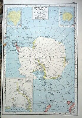 Antique Map ~ SOUTH POLAR REGIONS Greenland ICELAND ~ Harmsworth 1920