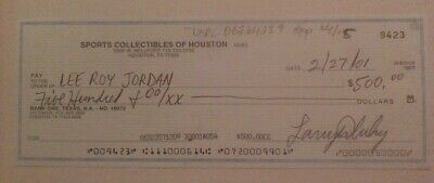Signed cancelled check to Cowboys great Lee Roy Jordan - scarce collection item