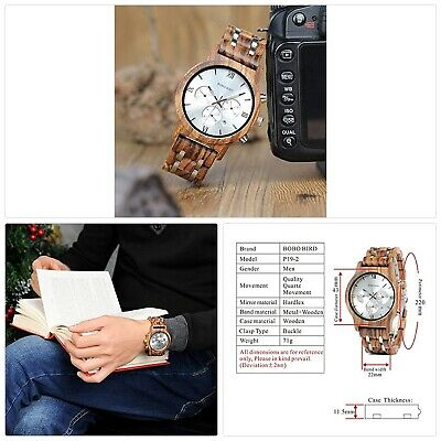 BOBO BIRD Mens Wooden Watches Luxury Wood Metal Strap Chronograph Date Dispaly Q