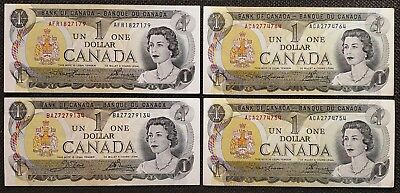 Lot of 4x 1973 Bank of Canada $1 Dollar Banknotes - Lightly Circluated