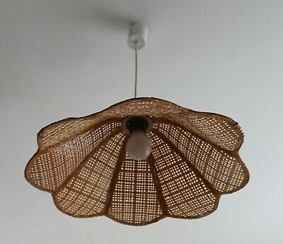 Ancienne Suspension OSIER Lustre FLEUR corbeille VINTAGE 70'S