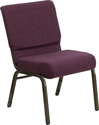 Lot Of 10 21'' Extra Wide Plum Fabric Stacking Church Chair