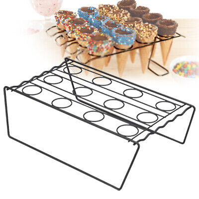 12 Cones Metal Ice Cream Cone Holder Chip Cone Holder Counter Display Stand UK~