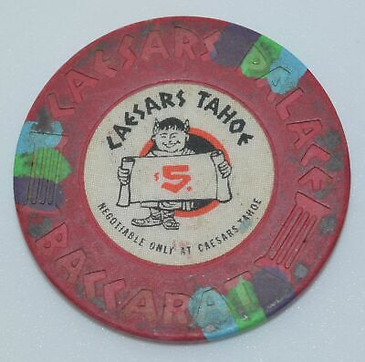 Caesars Tahoe $5 Casino 43mm Chip Lake Tahoe Nevada House Paulson 1980's