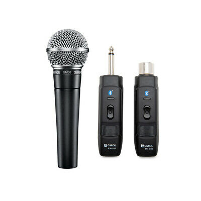 Shure SM58-LC Vocal Microphone w/ Knox Mic Bluetooth Module Adapter and Receiver