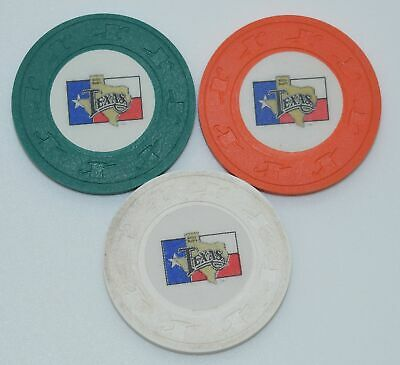 Set of 3 Billy Bob's Texas Poker Chips Forth Worth Texas H&C Paul-son Mold