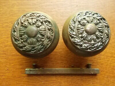 "Two Antique Fancy Victorian Iron Doorknobs ""Chatham"" 1905 by Russell Erwin   #52"