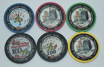 Set of 6 The Orleans 1-5-25-100-500 NCV Casino Chips Las Vegas NV H&C Paul-son