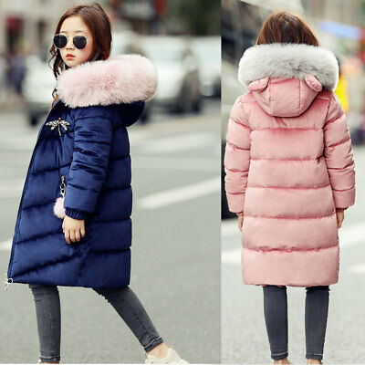 Girls Kids Coat Fur Hooded Thicken Jacket Cotton Padded Parka Overcoat Outwear