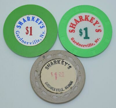 Set of 3 Sharkey's $1 Casino Chips Gardnerville Nevada Plain/H&C/Sm-Crown Molds