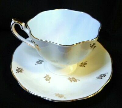 QUEEN ANNE TEA CUP & SAUCER - Golden Flowers Blue Interior English Bone China