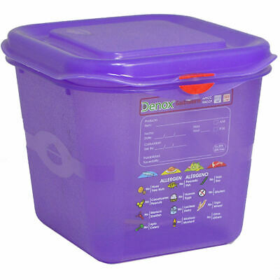 Allergy Food Storage Container With Lid GN 1/6 Size 175 x 160 x 150mm High 2.6L