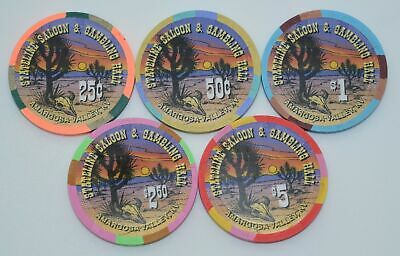 Set of 5 Stateline Saloon 25¢-50¢-$1-$2.50-$5 Casino Chips Amargosa Valley NV