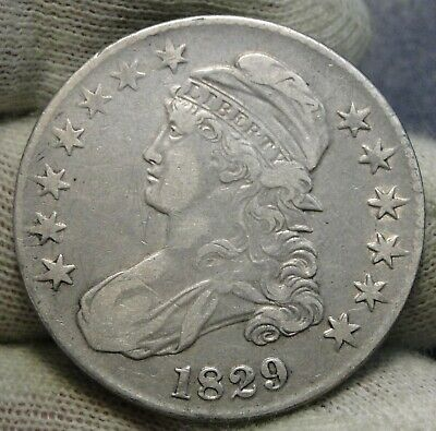 1829 Capped Bust Half Dollar - 50 Cents, Very Nice Coin, Free Shipping  (8461)