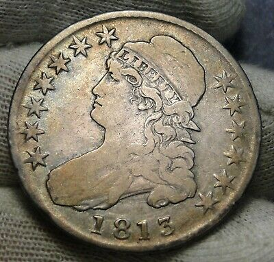 1813 Capped Bust Half Dollar 50 Cents - Nice Coin, Free Shipping (8483)