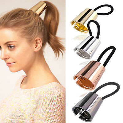 Chic Woman Retro Metal Elastic Ponytail Holder Hair Cuff Wrap Tie Band Ring Rope