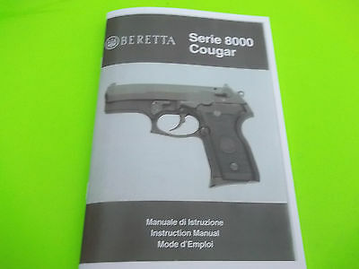 BERETTA COUGAR MODEL 8000 SEMI-AUTO PISTOL OWNERS MANUAL, 64 pages of info