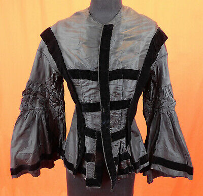 Victorian Civil War Black Silk Taffeta Velvet Trim Pagoda Sleeve Mourning Bodice
