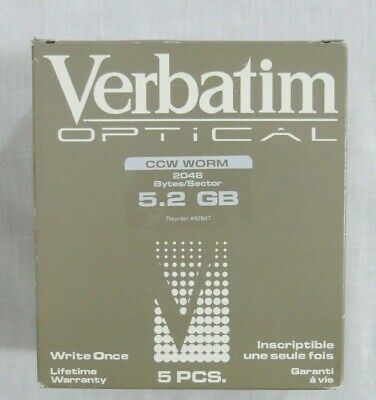 Verbatim Optical Disk CC Format CCW Worm 5.2 GB Write Once 5 PCS Set