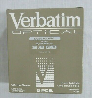 Verbatim Optical Disk CC Format CCW Worm 2.6 GB Write Once 5 PCS Set