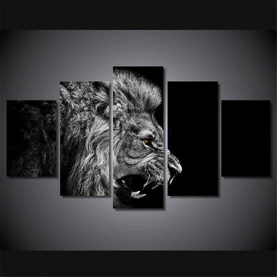 5 Panel Black Lion Canvas Painting Print Art Picture Home Wall Decor Unframed