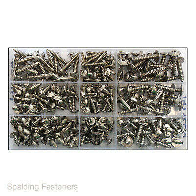 270 Assorted A2 Stainless Steel No6, 8 & 10 Pozi Flange Self Tapping Screws