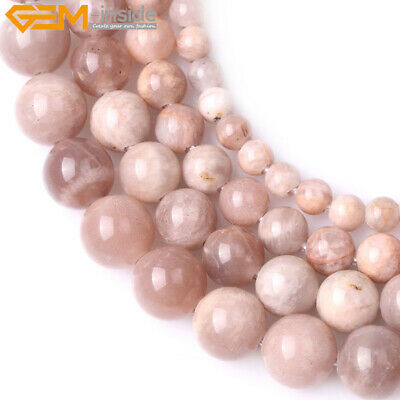 "Big Hole Natural Round Sunstone Loose Beads For Jewelry Making Strand 15"" DIY"