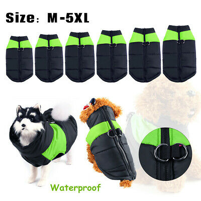 Waterproof Small/Large Pet Dog Clothes Winter Warm Padded Coat Vest Jacket Green