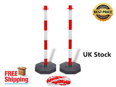 Red and White Lightweight Chain Post Set with 2 Posts and A 10 m Plastic Chain