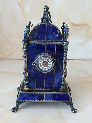ANTIQUE SILVER LAPIS LAZULI ENAMEL DESK CLOCK HERMANN BOEHM 1880's TABLE WATCH