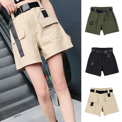 Womens Cotton Combat Canvas Chino Cargo Shorts Knee Length Summer Comfortable