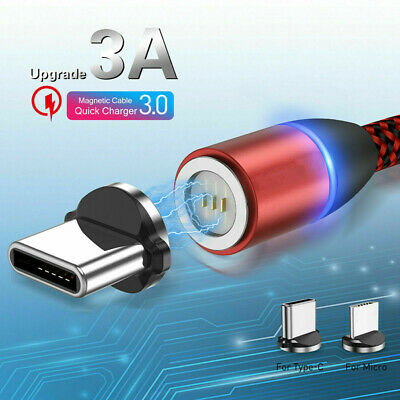 3A Micro USB LED Magnetic Fast Charger Charging Cable For Android iPhone Type C