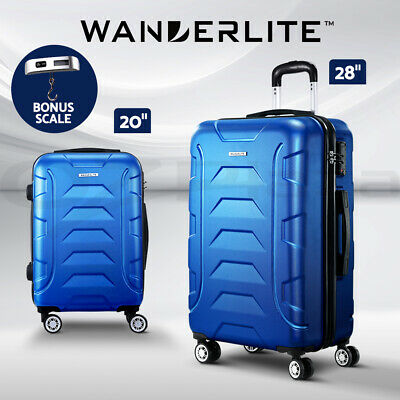 Wanderlite Suitcase Luggage Set 2pc Blue TSA Hard Case Lightweight Scale