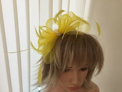 Yellow Crin And Feather Fascinator On Hairband, Can Be Custom Made To Match