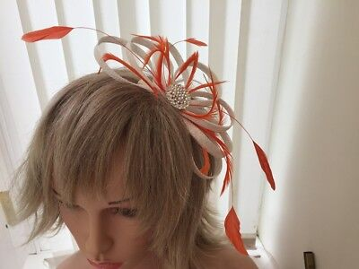 White & Orange  Sinamay And Feather Fascinator,  Can Be Custom Made