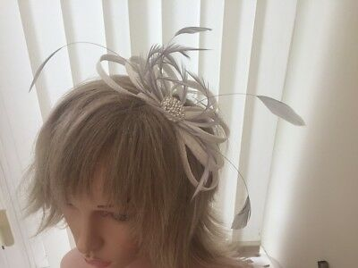 White & Silver Grey  Sinamay And Feather Fascinator,  Can Be Custom Made