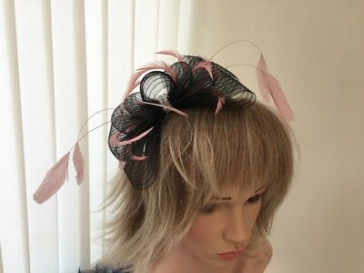 Black  & Rose Pink  Crin And Feather Fascinator On Hairband, Can Be Custom Made