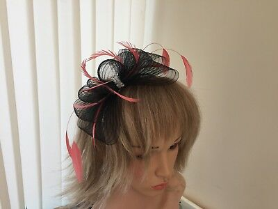Black & Coral   Crin &  Feather Fascinator On Hairband, Can Be Custom Made