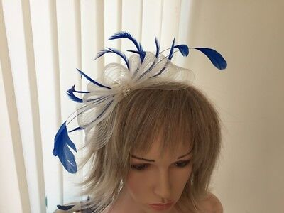 Ivory & Cobalt Blue  Crin &  Feather Fascinator On Hairband, Can Be Custom Made