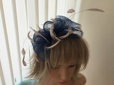 Navy & Nude Pink  Fascinator On Hairband, Can Be Custom Made To Match Dress