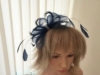 Navy Fascinator On Hairband, Can Be Custom Made To Match Dress, Weddings, Races