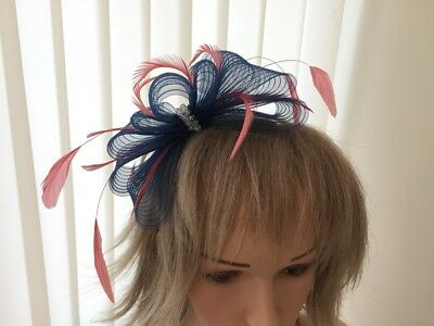 Navy & Coral  Fascinator On Hairband, Can Be Custom Made To Match Dress