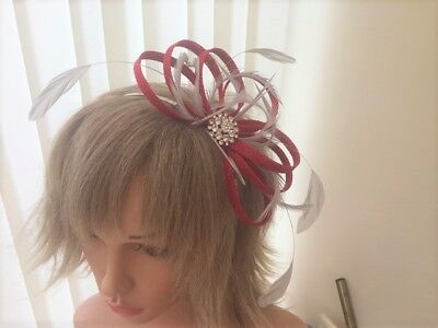 Red & Silver Grey Sinamay/ Feather Fascinator  Can Be Custom Made To Match Dress