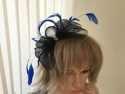 Black &Cobalt Blue   Crin &  Feather Fascinator On Hairband, Can Be Custom Made