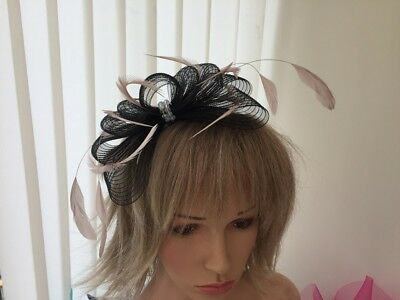 Black & Nude Pink  Crin And Feather Fascinator On Hairband, Can Be Custom Made